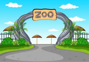Entrée du zoo sans visiteurs vecteur