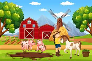 Agriculteur au paysage agricole vecteur