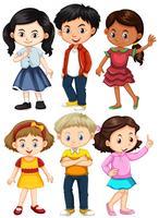 Différents personnages de garçons et de filles vecteur