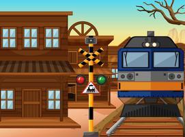 Trajet en train à travers l'ouest de la ville