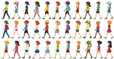Enfants marchant vecteur
