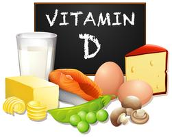 Un ensemble de nourriture avec de la vitamine D vecteur