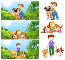Garçon et fille avec des chiens vecteur