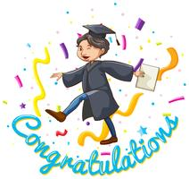 Modèle de carte de félicitations avec homme tenant un diplôme