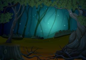 Scène avec des lucioles en forêt la nuit vecteur
