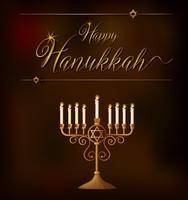 Modèle de carte Happy Hanukkah avec des lumières sur le titulaire vecteur