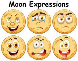 Six expressions faciales différentes de la lune vecteur