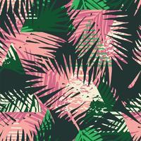 Modèle exotique sans couture avec palmier tropical laisse sur fond géométrique. vecteur