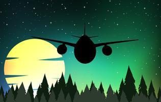 Scène de silhouette avec avion volant vecteur