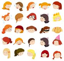 Tête de fille avec différentes expressions