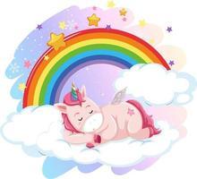 Pégase mignon allongé sur un nuage dans le ciel pastel avec arc-en-ciel vecteur