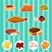 Ensemble d'autocollants avec différents types d'aliments vecteur