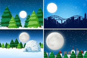 Ensemble de paysage d'hiver en plein air