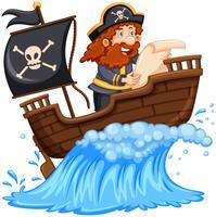 Pirate lisant une carte sur un bateau vecteur