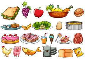 Ensemble de nourriture et d'ingrédients vecteur