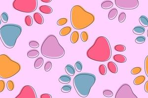 fond rose mignon sans couture avec des pattes d'animaux colorés vecteur