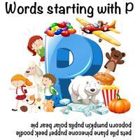 Mots commençant par la lettre P vecteur