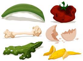 Différents types d'aliments pourris vecteur