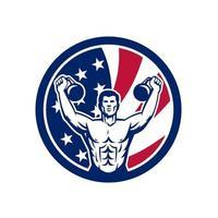corps de gym avec kettlebell drapeau usa mascotte rétro vecteur