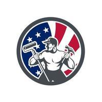 bricoleur travailleur avec rouleau à peinture et marteau usa drapeau mascotte rétro vecteur