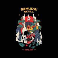 illustrations de casque de samouraï avec crâne vecteur