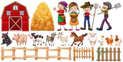 Agriculteurs et animaux de la ferme vecteur