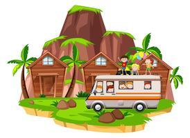 Enfants montés sur un camping-car vecteur