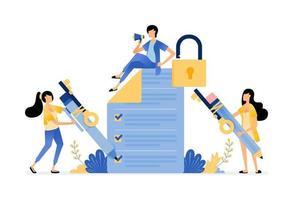 la sécurité des sondages et des examens pour protéger l'utilisateur contre les fuites et les abus de données vecteur