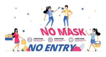 panneau d'avertissement obligatoire pour porter un masque au marché et au centre commercial vecteur