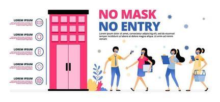 avertissement aux personnes de suivre le protocole sanitaire en entrant dans le bâtiment vecteur