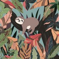 mignon bébé paresseux dans la forêt colorée. vecteur