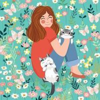une charmante dame avec un chaton mignon heureux dans un jardin fleuri. vecteur