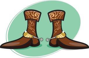 bottes de cowboy élégantes avec éperons vecteur