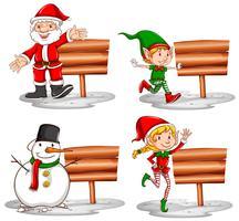 Thème de Noël avec des signes en bois et des personnages vecteur
