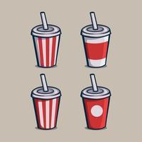 Ensemble de gobelets en papier de boisson gazeuse icône illustration vectorielle isolé vecteur