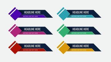 ensemble graphique de bannières de tiers inférieurs d'actualités diffusées vecteur