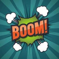 boom, bulle de dialogue comique. illustration vectorielle vecteur