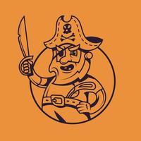 capitaine de navire borgne. art conceptuel pirate dans un style monochrome. vecteur