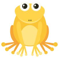 Grenouille jaune avec visage heureux vecteur
