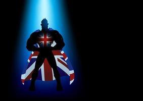 super-héros debout sous la lumière bleue vecteur