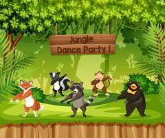 Les animaux effectuent une soirée dansante dans la jungle