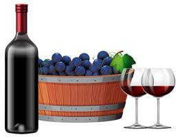 Vin rouge avec un baril de raisins illustartion