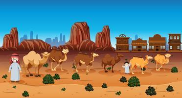 Scène de désert avec des gens et des chameaux