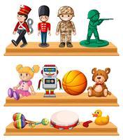 Beaucoup de jouets sur des étagères en bois vecteur