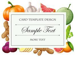 Modèle de carte avec des fruits et légumes vecteur
