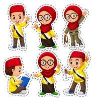 Ensemble d'autocollants avec des enfants musulmans