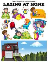 Garçons et filles au repos à la maison vecteur