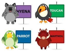 Quatre types d'animaux sauvages et de signes