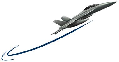 Avion à réaction volant sur fond blanc