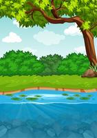 Un paysage au bord d'une rivière vecteur